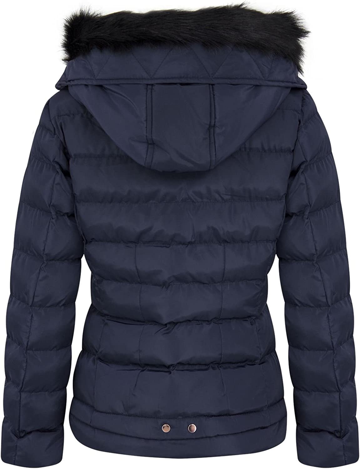10 /& 14 Ladies Winter Padded Quilted Navy Blue Zip Up Jacket Coat New Sizes 8