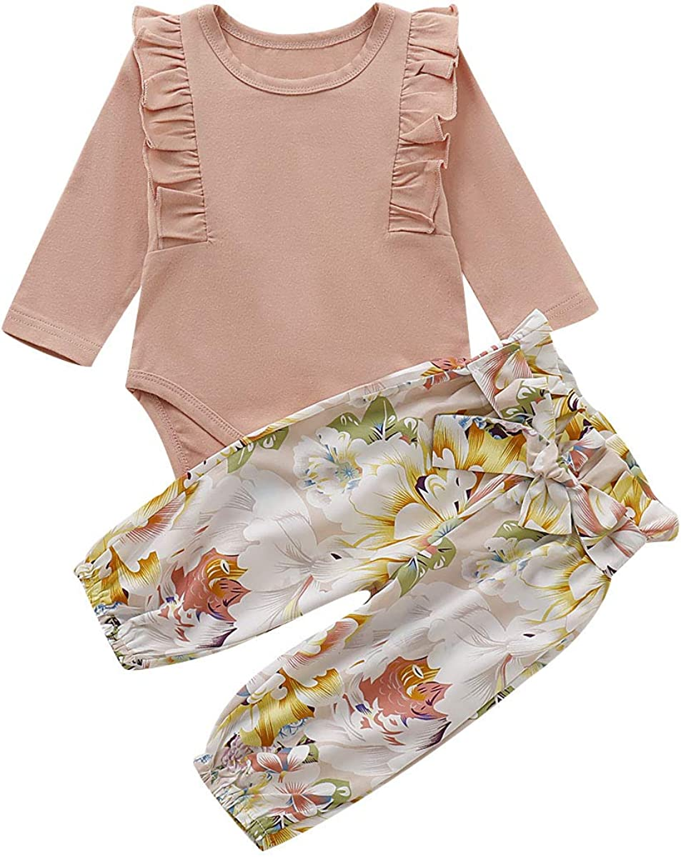 Tianhaik Newborn Baby Girl Long Sleeve Romper Floral Long Pants Ruffled Outfits Clothes Set