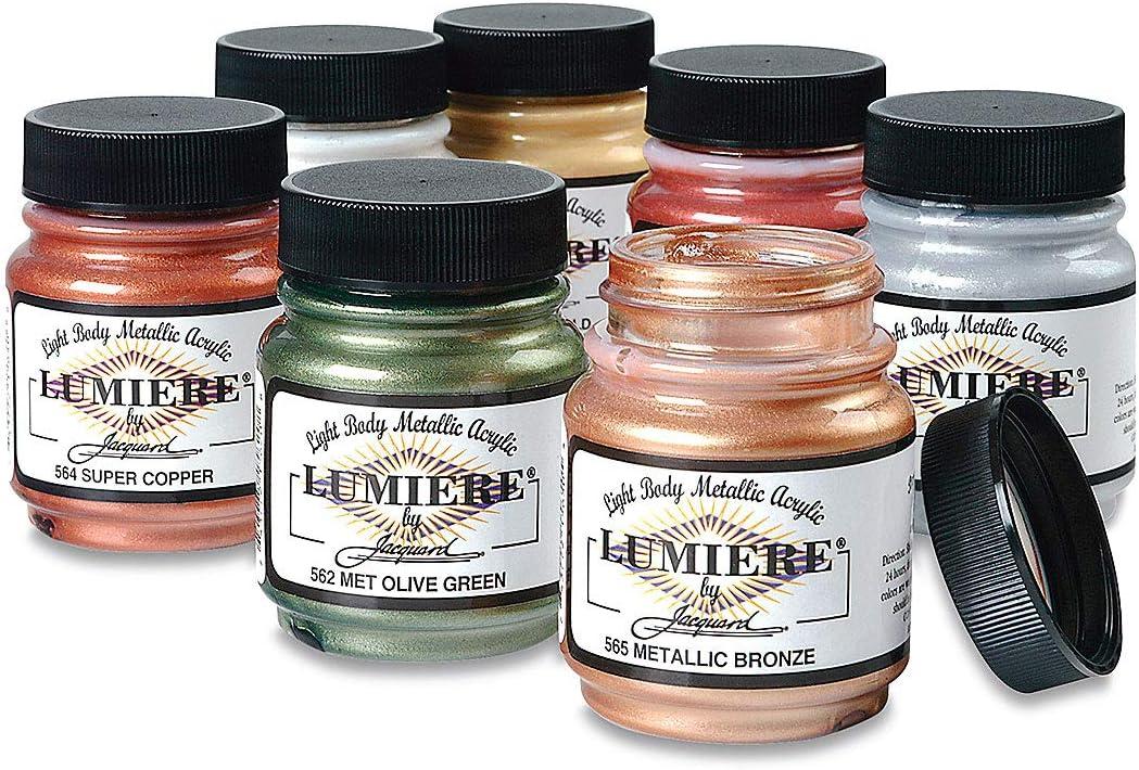 Jacquard Products Lumiere Fabric Paint 2.25 Oz. Jar: Metallic Olive Green