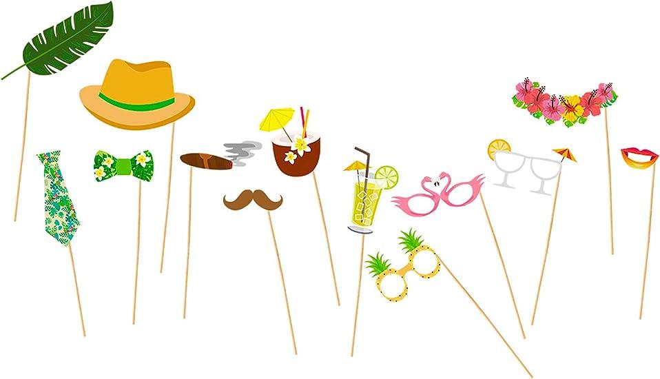 Chaks Fotorequisiten Tropical 13 Tlg Fotobooth Witzige Urlaub Hawaii Motive Für Gruppenfotos Zur Mottoparty Blumenkette Schnurrbart Hut Lippen Cocktails Spielzeug