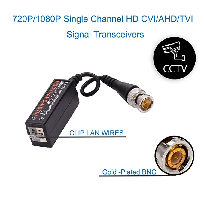 COLM 10 Pares (20 Piezas) NVL-08B Mini CCTV BNC Conectores de Balun de Video para Cable Macho BNC a Través de UTPCAT5E / 6 Transmisor de par Trenzado CCTV ...