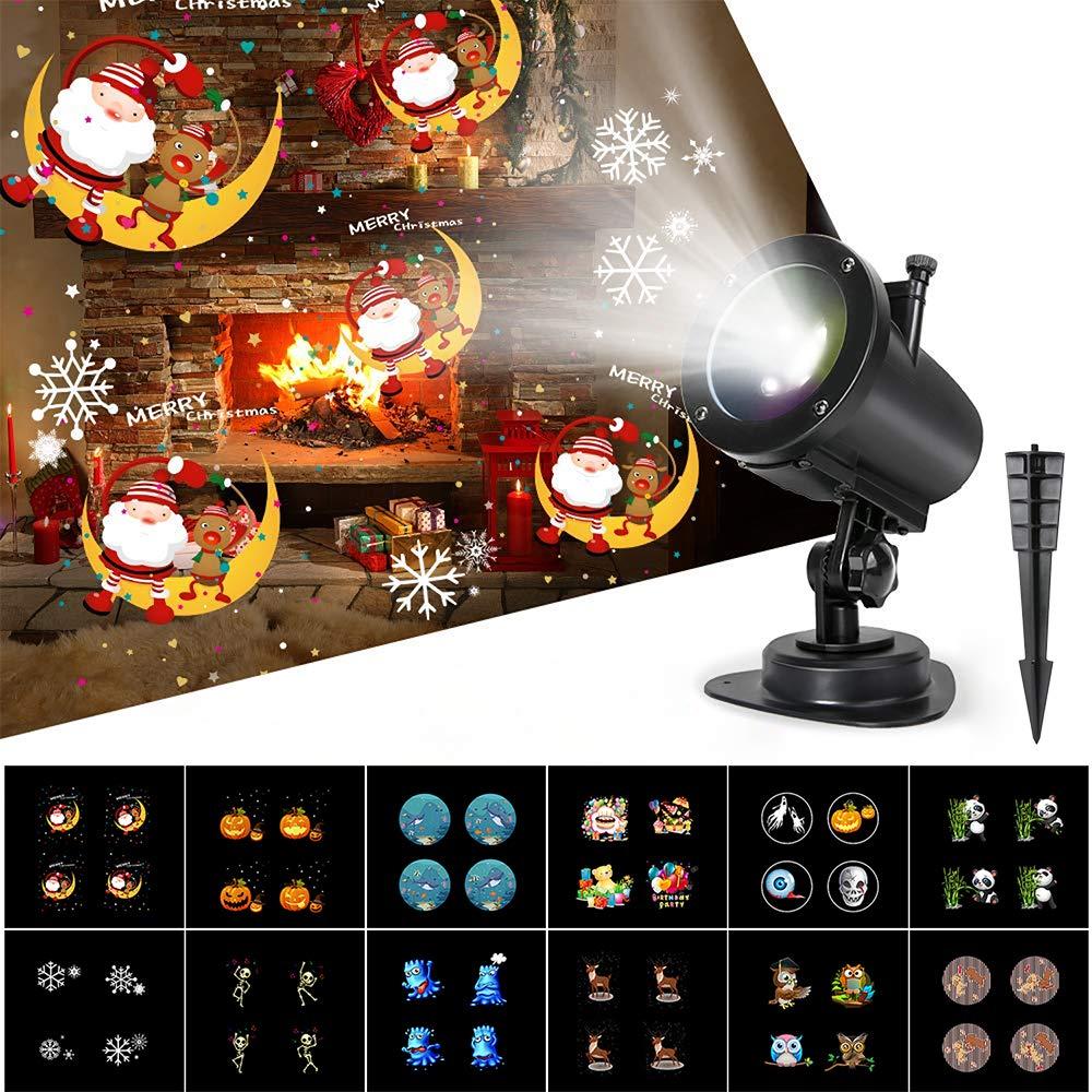 Luces Proyector Navidad LED, 14 Diapositivas Dinámicos Efecto de Luces Proyección, IP65 Impermeable 6H