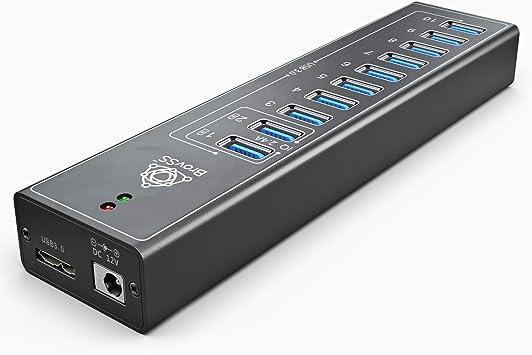 GEKRY USB 3.0 Hub 3.3ft Data Cable 2 Smart 2.4A Ports Aluminum 10-Port Powered USB Hub with 8 USB 3.0 Data Ports 12V//3A Adapter