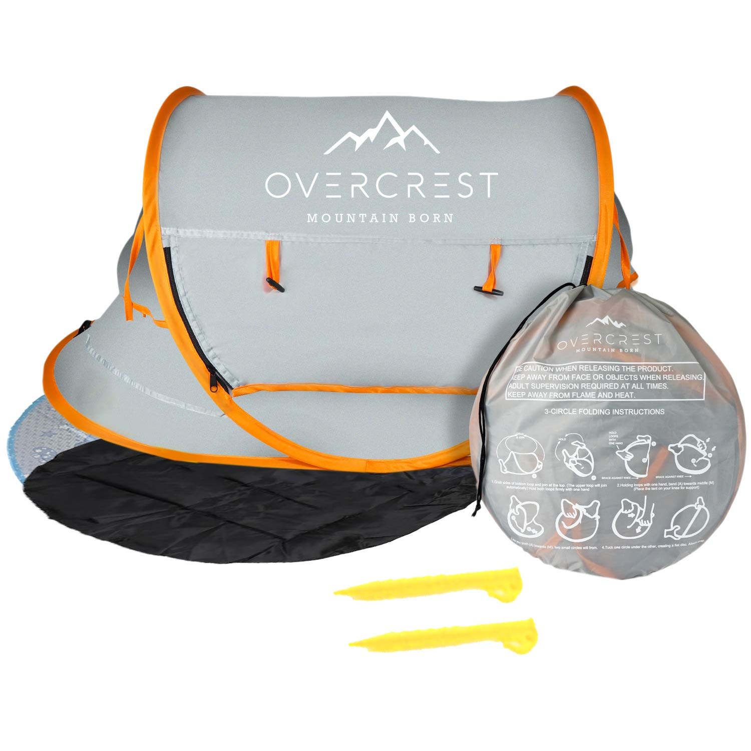 Overcrest Portable Beach Pop up Tent Babies, UPF 50+, Large Sun Shelter Infant Babies, Mosquito Net Sunshade, Lightweight Outdoor Travel Baby Crib Bed (Orange w/Pad & Mat) by Overcrest