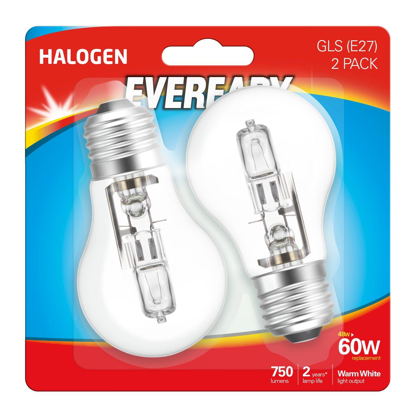 paquete de 2 unidades Bombillas transparentes para l/ámpara hal/ógena 40/W Eveready G9
