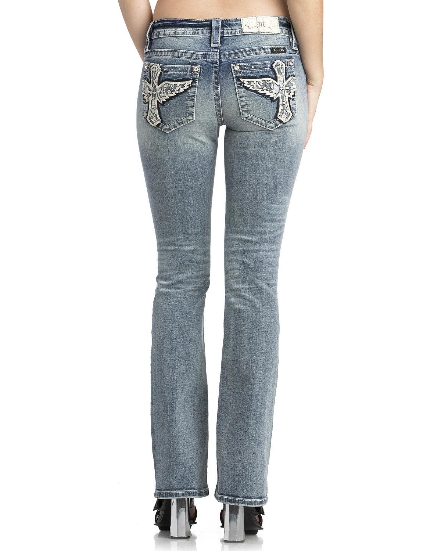 Miss Me Women's Cross Wing Embellished Bootcut Jeans in Medium Blue Medium Blue 27 33