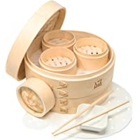 "A2Z HOMEBRANDS 10"" Bamboo Steamer Basket - Makes Tasty Bao Buns, Sashimi - Sturdy Dumpling Steamer Basket Includes 20…"