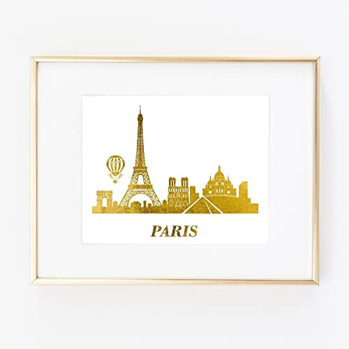 Map Of France Eiffel Tower.Amazon Com Skyline Paris France Eiffel Tower Country World Gold