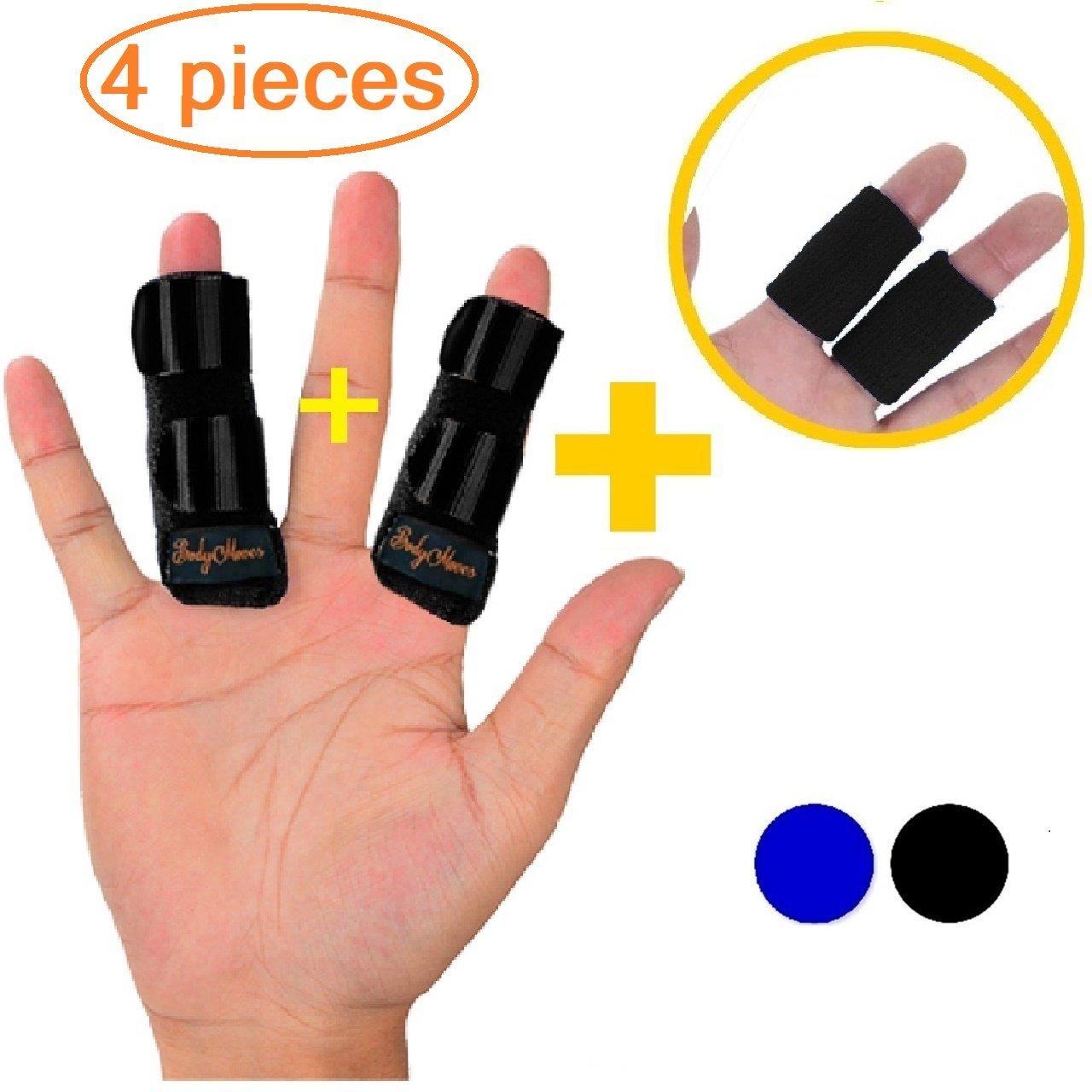 BodyMoves Finger splints Plus 2 Nylon Sleeves for Trigger Finger Mallet Finger Broken Finger Rheumatoid Arthritis Post Operative Care (Midnight Black)