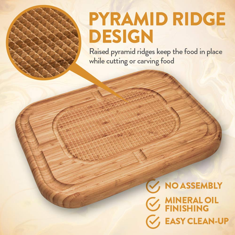 Bamboo Large Meat Carving Board Wood Pyramid Cutting Board with Deep Juice Grooves 17 Inches X 13 Inches X 1.5 Inch Bambüsi BAM-MBL