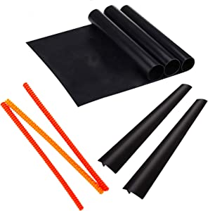 Oven Accessories Set of 8-3 Silicone Oven Rack Protectors, 2 Stove Counter Gap Cover Guards, and 3 Non Stick Oven Liner Mats, Heat Resistant, BPA Free and Dishwasher Safe Thanksgiving Christmas Gift