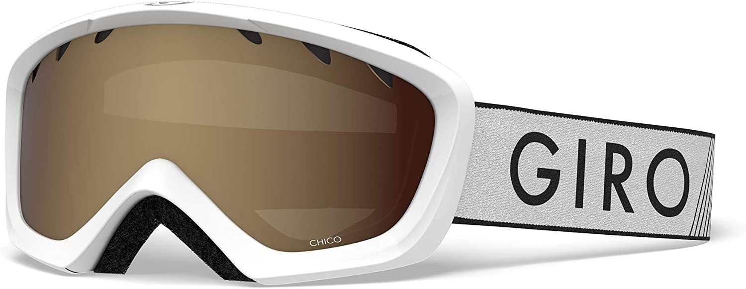 Giro Chico Youth Snow Goggles - White Zoom Strap with Amber Rose Lens (2021)