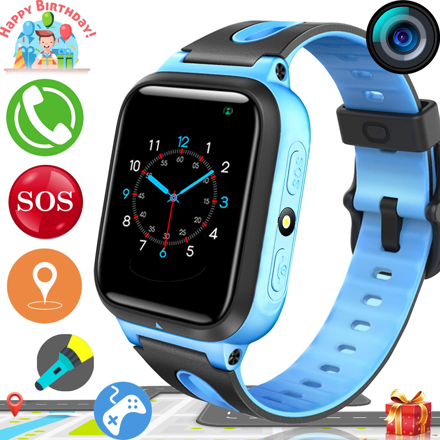 2019 UPGRADES Kids Smart Watch Phone GPS Tracker for Kids Boys Girls Game Watch with Anti-Lost SOS Camera Flashlight 1.54 Touch Screen Cell phone ...