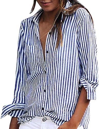 OHQ Camisa De Manga Larga con Estampado De Rayas De Las SeñOras Blusa Suelta De Manga Larga A Rayas De Moda Casual Camiseta Tops Gris Rosa Moda Femenina: Amazon.es: Ropa y accesorios