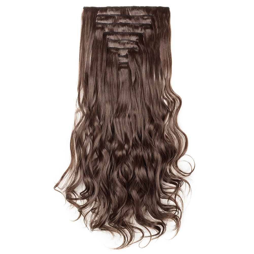 Clip in Hair Extensions Synthetic Full Head Charming Hairpieces Thick Long Straight 8pcs 18clips for Women Girls Lady (24 inches-wavy, medium brown) by Beauti-gant (Image #3)