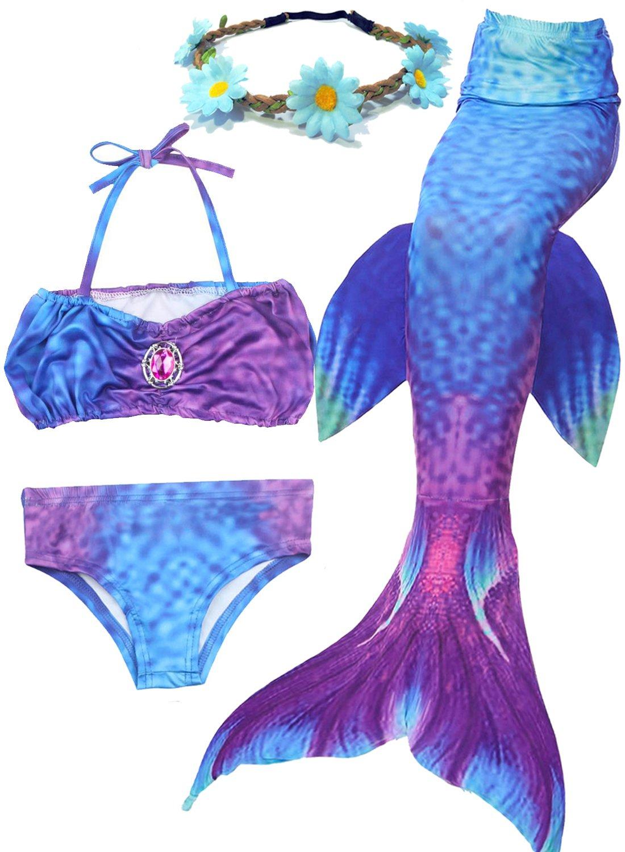 93e01ac8b3 3PCS Mermaid Tail for Girls Swimsuit Swimming Tropical Bikini Cosplay Pool  Party Swimsuit