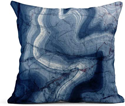 Kinhevao Throw Pillow Black Colorful Paintings Of Marbling Dark Blue Marble Ink Pattern Abstract Architecture Linen Cushion Home Decorative Pillow Amazon Co Uk Kitchen Home