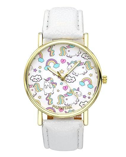jsdde Relojes Fashion Cute dibujos animados Unicornio del arco iris pulsera reloj chica joven reloj niños reloj analógico de cuarzo reloj blanco cuero PU ...