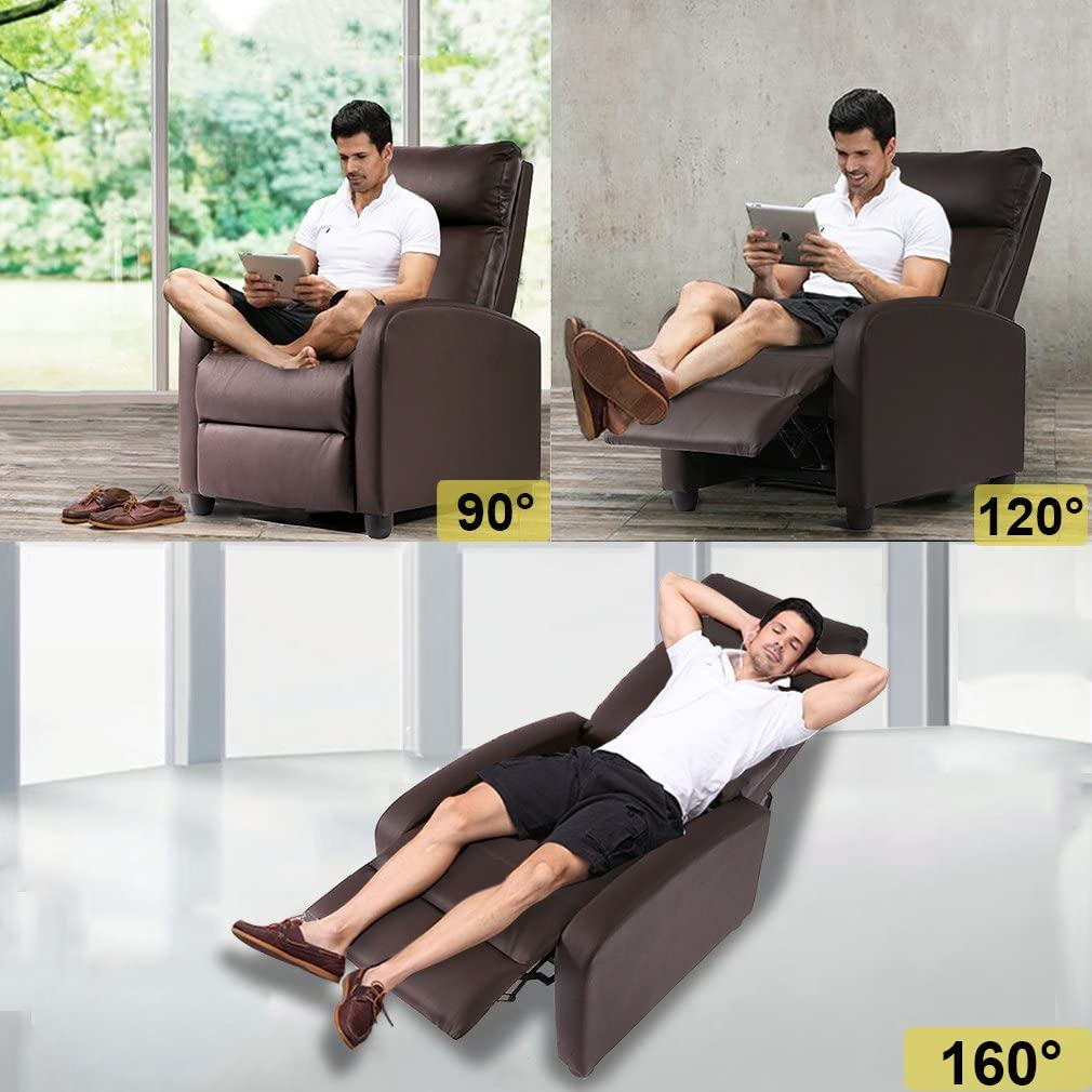 Recliner Chair for Living Room Recliner Sofa Wingback Chair Home Theater Seating Single Sofa Arm Chair Accent Chair Modern Reclining Chair Easy Lounge (Brown)