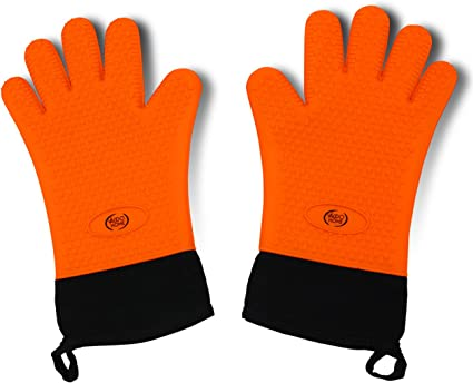 GEEKHOM Grilling Gloves Heat Resistant Gloves BBQ Kitchen Silicone Oven Mitts,