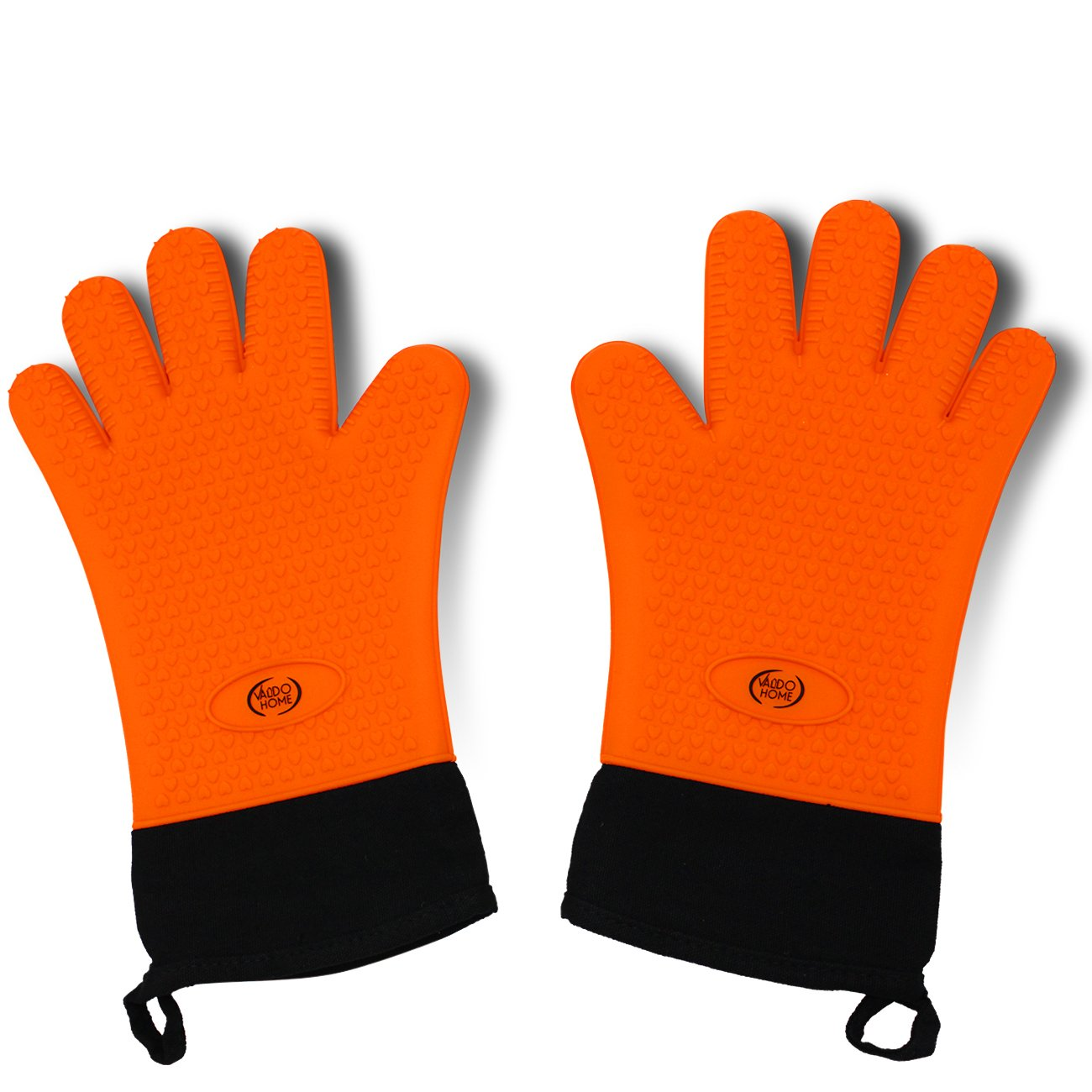 Valdo Home BBQ Grilling Gloves, Heat Resistant Kitchen Silicone Oven Mitts Extra Long Waterproof (Orange)