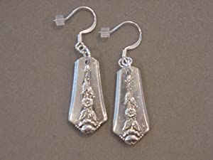 Vintage Spoon Jewelry Earrings 1949 Spring Garden Holmes and Edwards Inlaid Spoon Earring - Silverware Jewelry Recycled jewelry