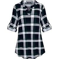 Marbetia Womens 3/4 Roll Sleeve Shirt V Neck Loose Tops Plaid Tunic Blouse