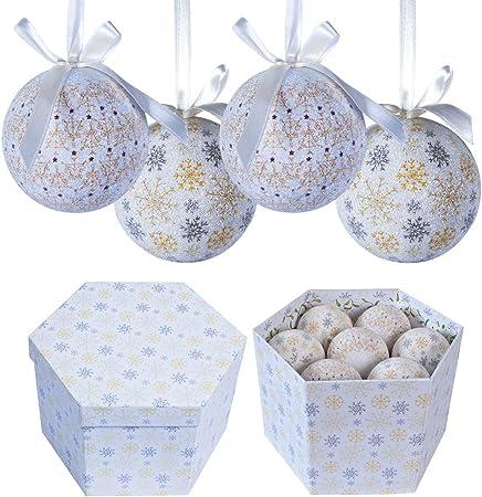 Bolas de 14unidades,Diseño de nieve/hielo,Con lazos.,Caja de Regalo,Uso para años