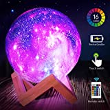 Star Night Light for Kids Galaxy Moon Lamp 16 Colors LED Moon Light with Stand Remote Touch Control and USB Rechargeable Cool Gift for Women Baby Kids Birthday Bedroom Home Decor (5.9 inches)