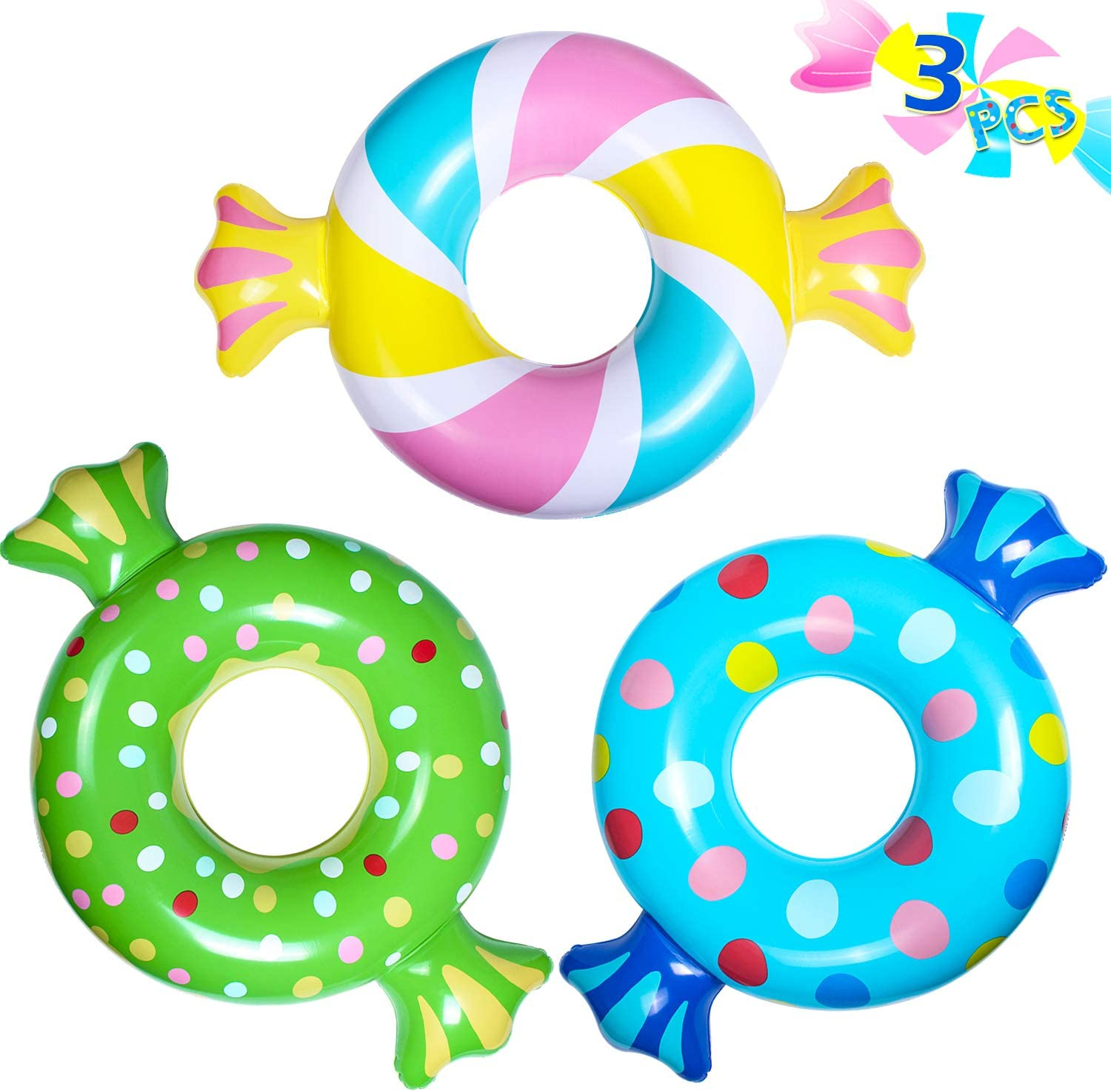 Pink Sweet Troublemaker Donut Swimming Ring Inflatable Swimming Ring 90CM for Children Kids 6-12 Years