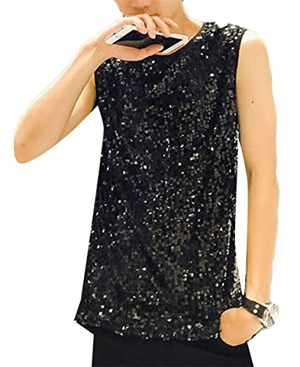 314e75c8045a6 Hokny TD Men s Summer Sequin Slim Fitted Show Sleeveless Tank Top Black XS