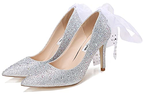 76cc257632 Naly Women's Cinderella Princess Crystal Pumps with Ribbon The Glass  Slipper High Heel Wedding Shoes Silver
