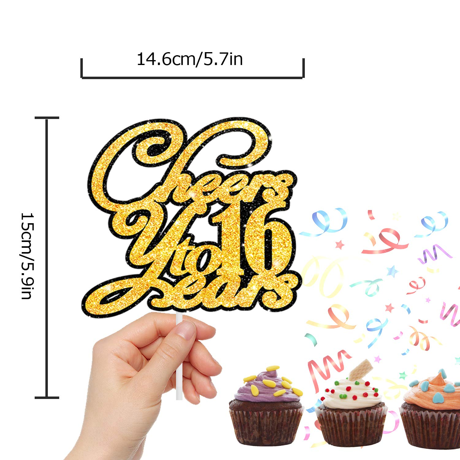 Happy Birthday Or Wedding Anniversary 16th Party Decor LINGPAR Cheers to 16 Years Gold Glitter Cake Topper