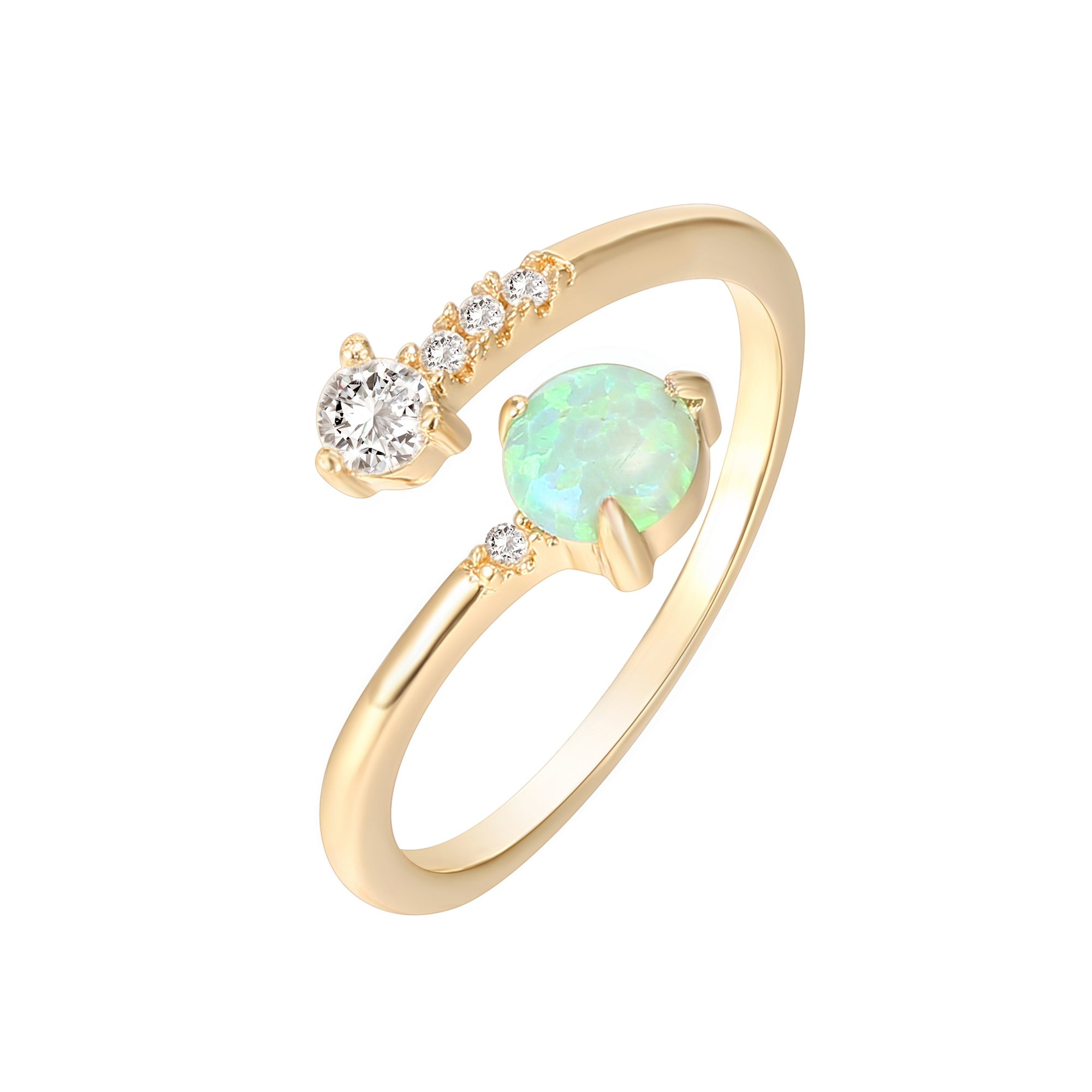 PAVOI 14K Yellow Gold Plated Wrap Cubic Zirconia and Created Green Opal Ring Stackable Ring