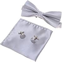 GOOTRADES Mens Boys Adjustable Pre-tied Tuxedo Bow Tie Cufflinks Pocket Square Set