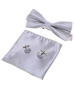 GOOTRADES Mens Boys Adjustable Pre-tied Tuxedo Bow Tie Cufflinks Pocket Square Set,Silver