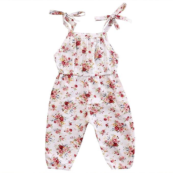 5b19bb975c30 Mornbaby Baby Girls Halter One-Pieces Floral Romper Jumpsuit Jumper ...