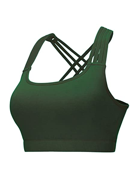 04b3bb9408478 Image Unavailable. Image not available for. Color  REGNA X NO BOTHER  Women s Deep Round neck Seamless Workout Strappy Sport Bras dark Green X