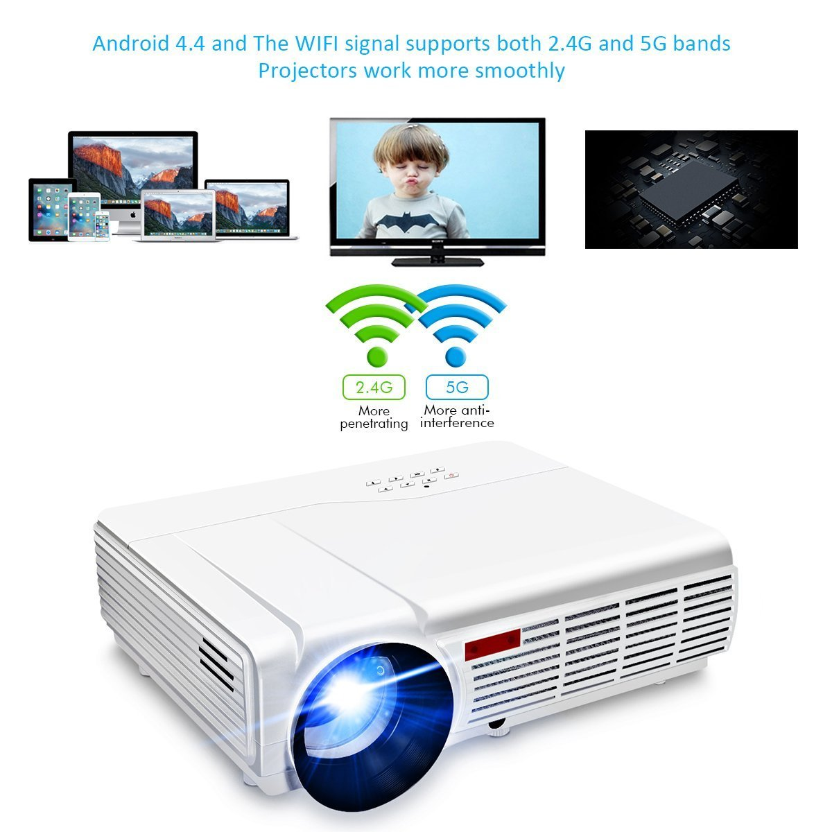 amazon com wifi projector elegiant 3000 lumens long life led full