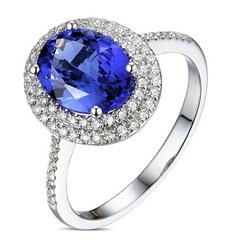 Epinki 18k Oro Anillos para Mujer óvalo Anillo de Diamante Anillos Mujer Azul con Blanco Azul