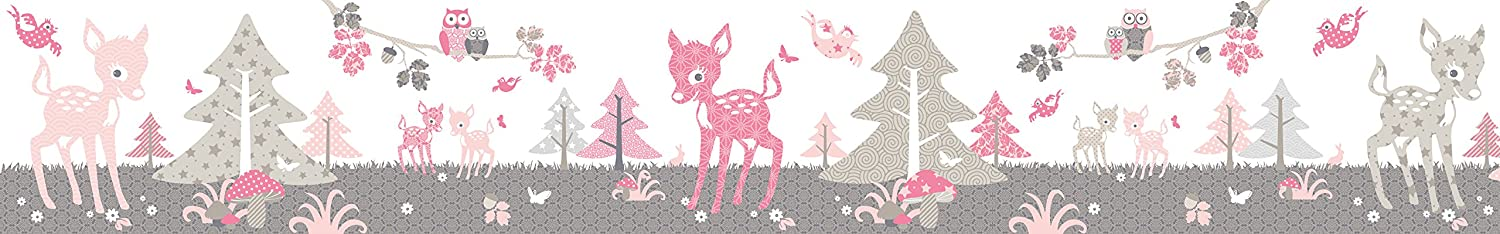 "Wallpaper Border Children ""Little Deer"" Pink anna wand"