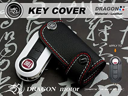 Amazon Com Leather Key Fob Holder Case Chain Cover Fit For Fiat 500