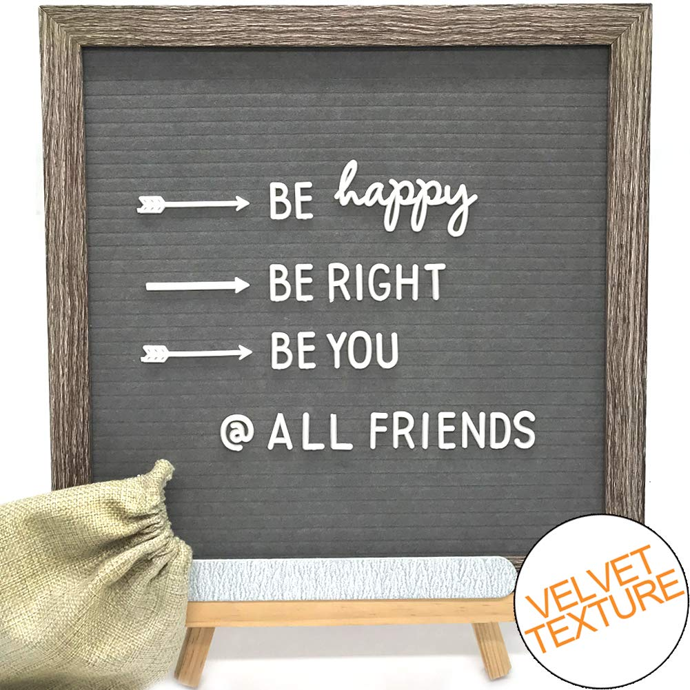 Gray Felt Letter Board with Wood Stand 12x12 inches. Rustic Frame Changeable Letter Board with 290 White Letters,Numbers,Additional Symbols & Emojis, Free Nail File & Letter Bag, by MUGA