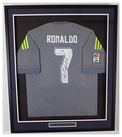 107a65a197f Image Unavailable. Image not available for. Color  Cristiano Ronaldo  Autographed Signed Framed Real Madrid Fly Emirates Adidas Authentic Grey  Jersey - PSA