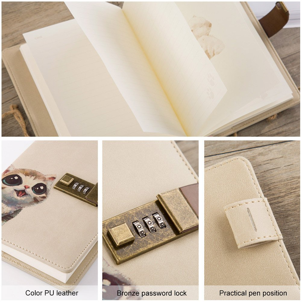Crafted Notebook with Combination Lock Secret Diary Writing PU Leather Cute Animal Journal Notepad with Pen Holder for Girl and Boy Christmas or Valentines Gift Refillable A5 112 Sheets Dog