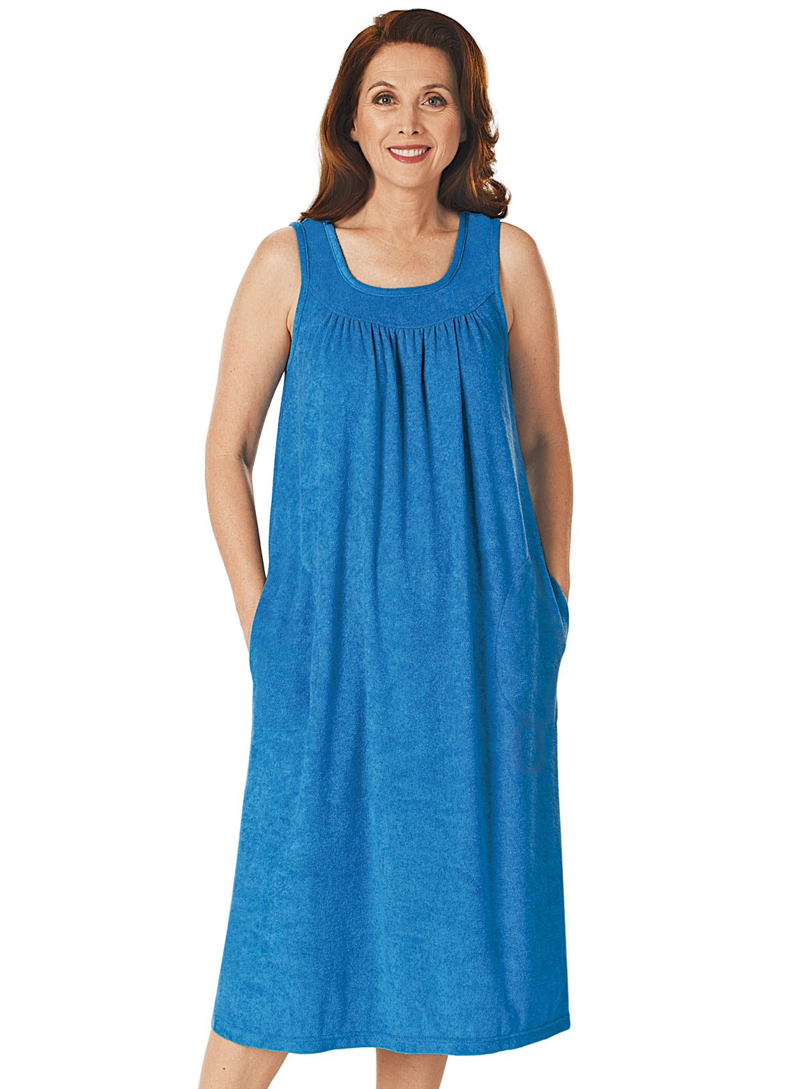 Carol Wright Gifts Sleeveless Terry Dress, Royal, Size Extra Large (3X)
