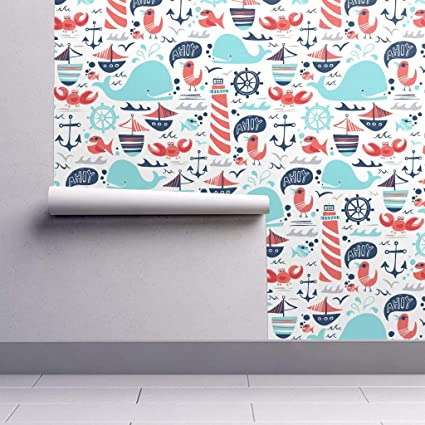 nautical wallpaper sample swatch whale fish sailboat anchor oceannautical wallpaper sample swatch whale fish sailboat anchor ocean whimsical by heatherdutton swatch 12in x 24in amazon com