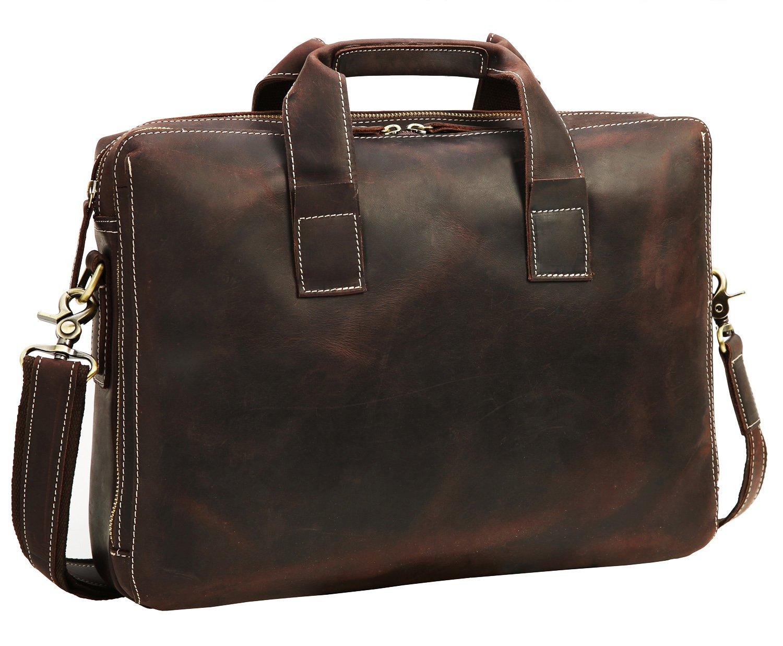 Men's Messenger Bag Iswee Vintage Leather Briefcase Satchel HandBag fit 14'' Laptop Shoulder Bag by Iswee