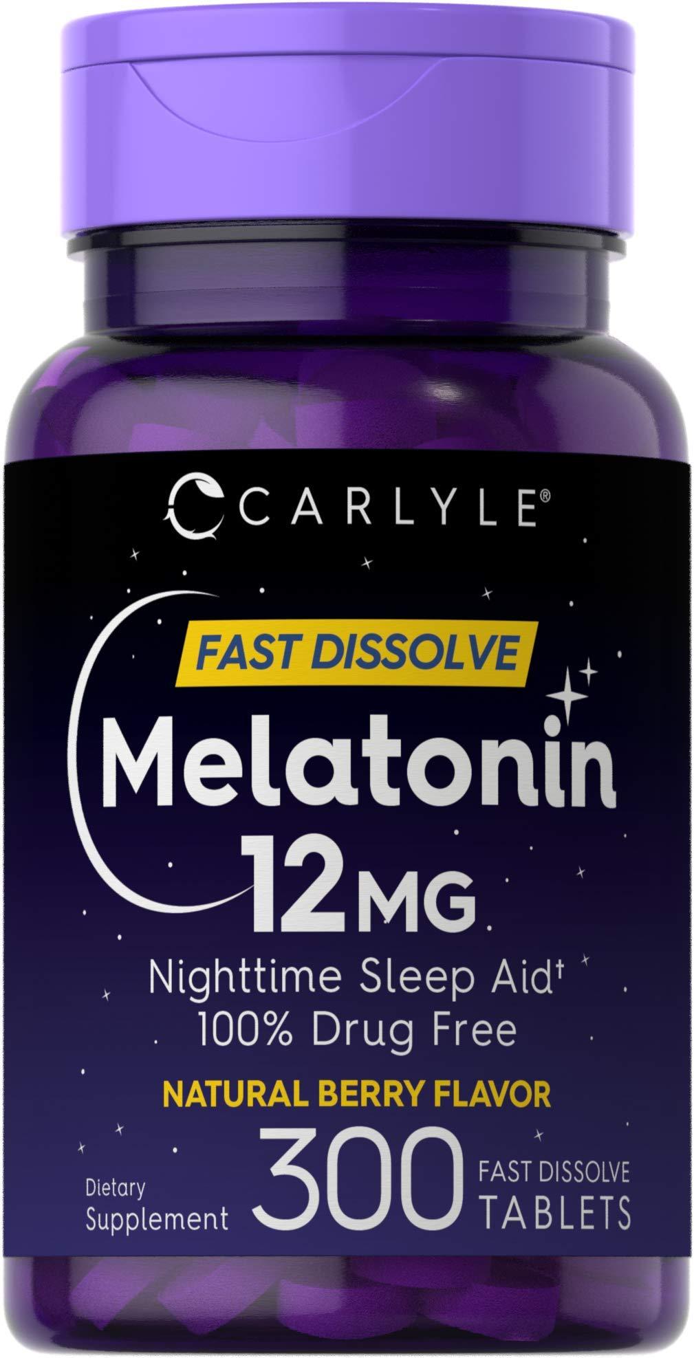 Carlyle Melatonin 12 mg Fast Dissolve 300 Tablets | Nighttime Sleep Aid | Natural Berry Flavor | Vegetarian, Non-GMO, Gluten Free