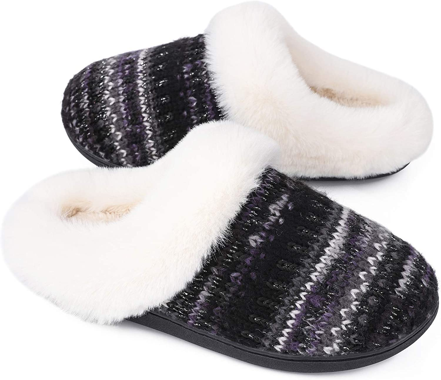 LongBay Women's Knit Fur Slippers Fuzzy Comfy Memory Foam House Shoes with Sparkle Decor